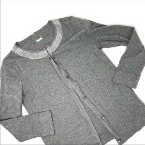 J. Crew beaded neck grey cardigan